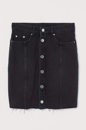 Button-front Denim Skirt - Black