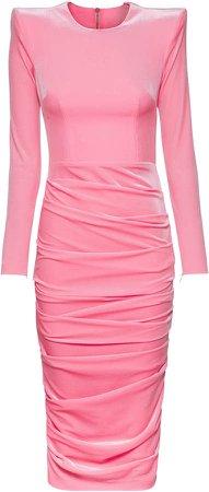 Alex Perry Lucas Ruched Velvet Midi Dress
