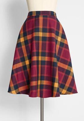 Plaid Mid Skirt