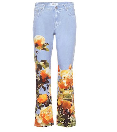 Mid-rise printed jeans