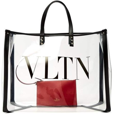 Vltn Pvc Tote Bag - Womens - Clear