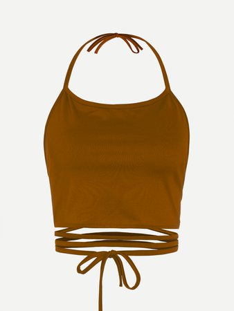 Halter Neck Lace Up Cami Top