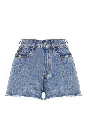 Blue High Waisted Denim Shorts | PrettyLittleThing