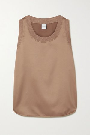 Sand Leisure Roseto ribbed knit-trimmed satin tank | Max Mara | NET-A-PORTER