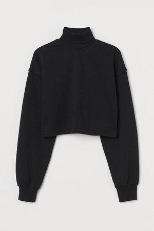 Cropped Turtleneck Sweatshirt - Black