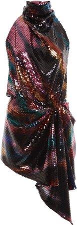 Attico High-Neck Draped Sequined Dress