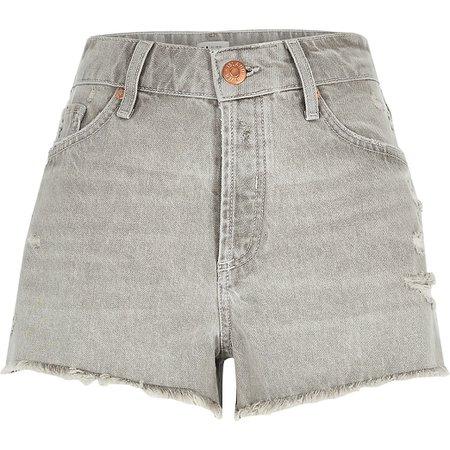 Grey ripped mid rise denim shorts | River Island