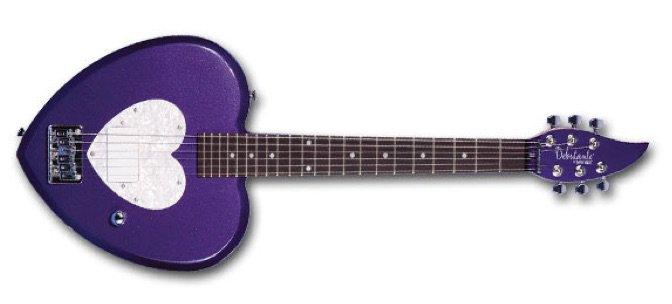 purple daisy rock heart guitar