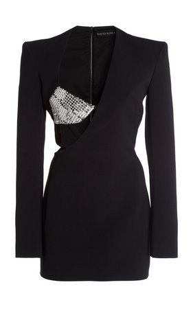 Embroidered Cutout Crepe Mini Dress by David Koma | Moda Operandi