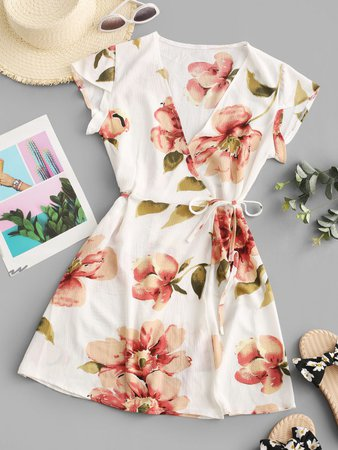 [36% OFF] [HOT] 2020 Flutter Sleeve Floral Wrap Mini Dress In LIGHT COFFEE | ZAFUL