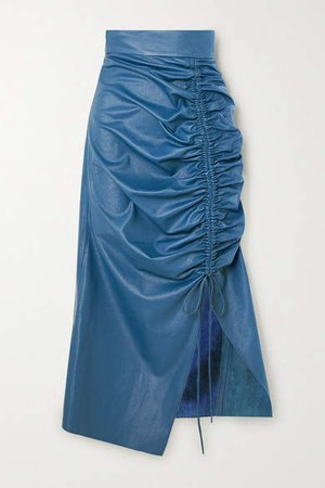 Ruched Faux Leather Midi Skirt - Blue