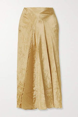 Draped Crinkled-satin Midi Skirt - Sand