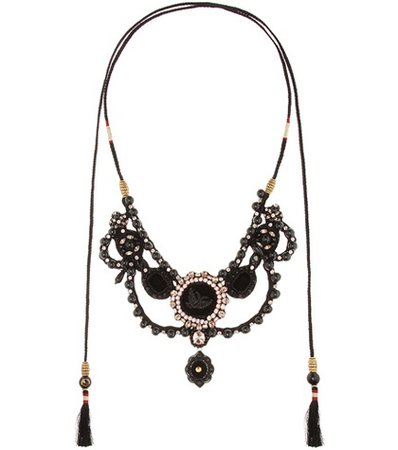 Velvet necklace with crystals and beads