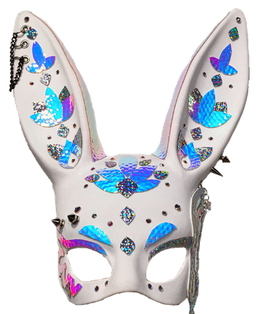 chromemonarchy on Etsy Holographic Bunny Mask | Fetish Rabbit Mask in white