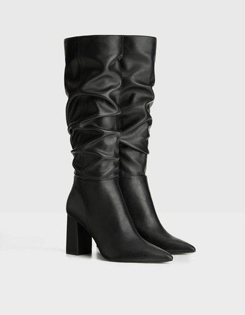 High-heel slouched boots - Best Sellers - Bershka United States