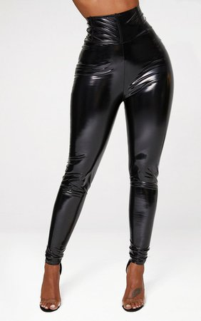 Shape Black High Waist Vinyl Leggings | Curve | PrettyLittleThing USA