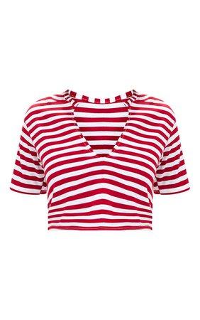 Red Stripe V Neck Crop T Shirt   Tops   PrettyLittleThing