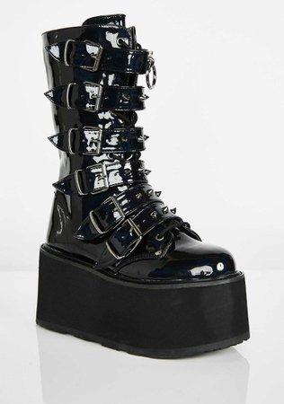 Black Hologram Platform Buckle Boots   Dolls Kill