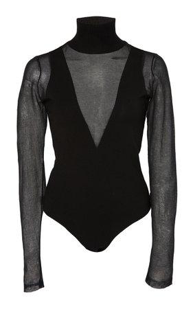 Mesh-Paneled Stretch-Knit Turtleneck Bodysuit by Zeynep Arçay   Moda Operandi