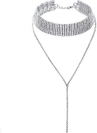 Amazon.com: Kercisbeauty Dainty Rhinestones Choker Y Necklace for Women and Girls Party Diamond Choker Long Chain Necklace Bar: Clothing