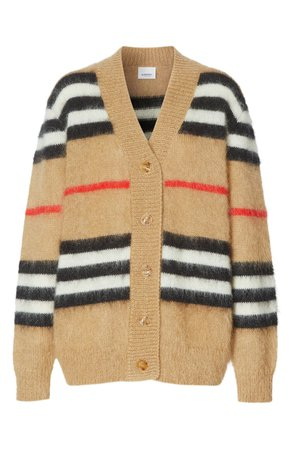 Burberry Gamtoos Icon Stripe Mohair Blend Cardigan | Nordstrom