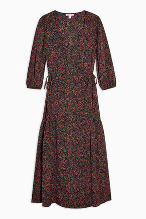 PETITE Pink Ditsy Floral Print Tie Wrap Midi Dress | Topshop