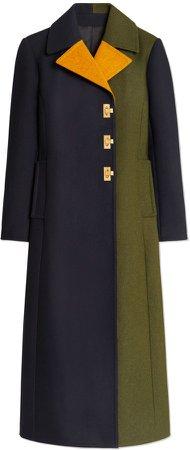 Color-Block Wool Coat