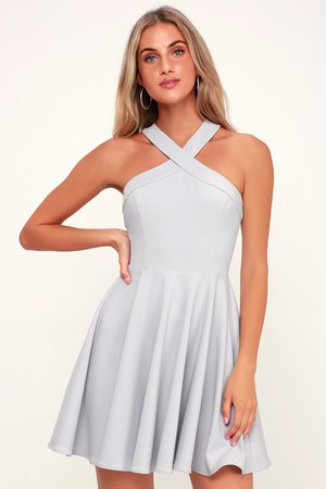 Chic Light Grey Dress - Skater Dress - Halter Dress - Short Dress