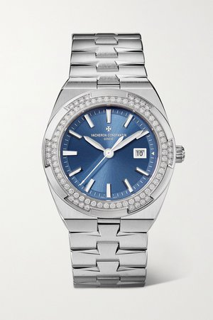 Silver Overseas Quartz 33mm stainless steel and diamond watch | Vacheron Constantin | NET-A-PORTER