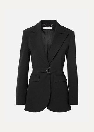 Belted Crepe Blazer - Black