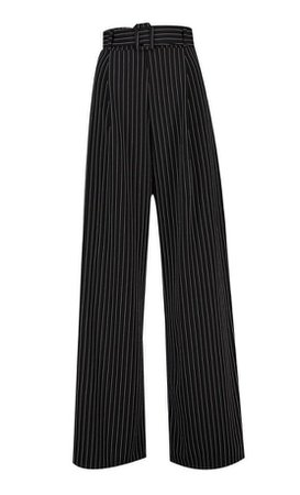 Pinstripe Belted Wide Leg Trouser | boohoo black