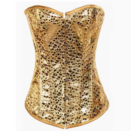Ladies Classic Burlesque Satin Hourglass Strapless Overbust Corset|Hiipps.com