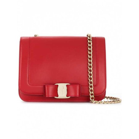 Buy Brand New Luxury Salvatore Ferragamo Vara Rainbow Red Leather Bag Online   Luxepolis.Com