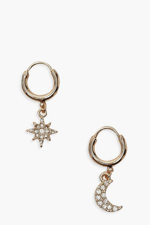 Star And Moon Diamante Huggie Hoop Earrings | Boohoo