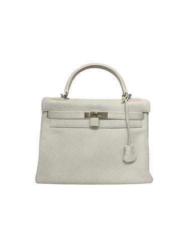 Hermès White Leather Kelly 32 Bag