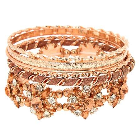 Rose Gold Floral Bling Bangle Bracelets - 6 Pack | Claire's