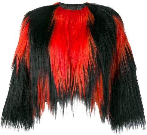 two tone fur short jacket