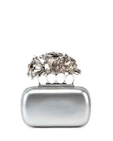 Alexander McQueen Roses Metallic Leather Clutch Bag, Silver | Neiman Marcus