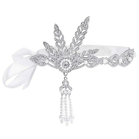 Charleston Vintage 1920s The Great Gatsby Flapper Headband Women's Feather Costume Silver Vintage Cosplay Festival 2019 - £ 9.64