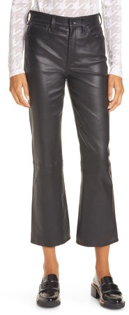 Nina High Waist Ankle Flare Leather Pants