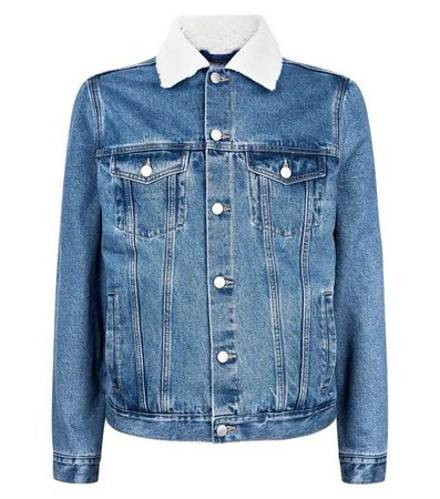 Pale Blue Borg Collar Denim Jacket | New Look