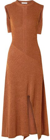 Cape-effect Knitted Midi Dress - Brown