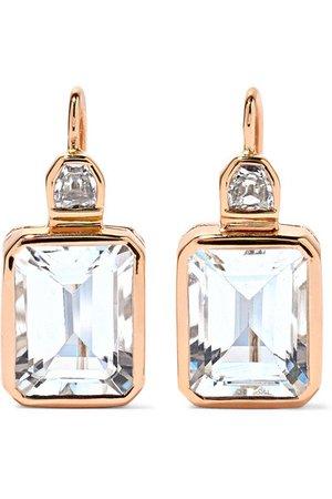 Dezso by Sara Beltrán | Deco 18-karat rose gold, aquamarine and diamond earrings | NET-A-PORTER.COM