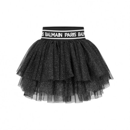Balmain Girls Black Glitter Tulle Skirt - Wedding Season