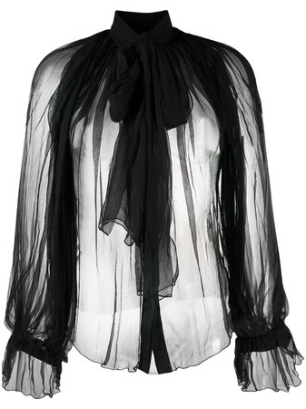 Black Atu Body Couture pussy-bow tulle blouse ATS20085 - Farfetch