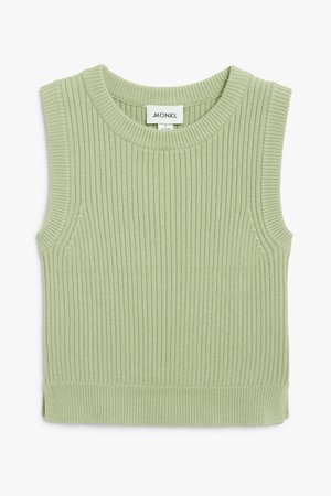 Ribbed knit vest - Green - Knitted tops - Monki WW