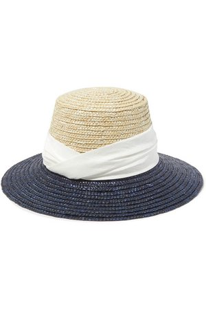 Eugenia Kim | Stevie satin-trimmed two-tone straw hat | NET-A-PORTER.COM