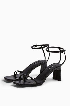 NATURE Black Strappy Block Heels