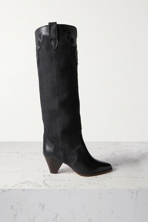 Litz Leather-trimmed Suede Knee Boots - Black