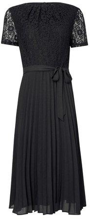 Black Lace Pleat Midi Dress